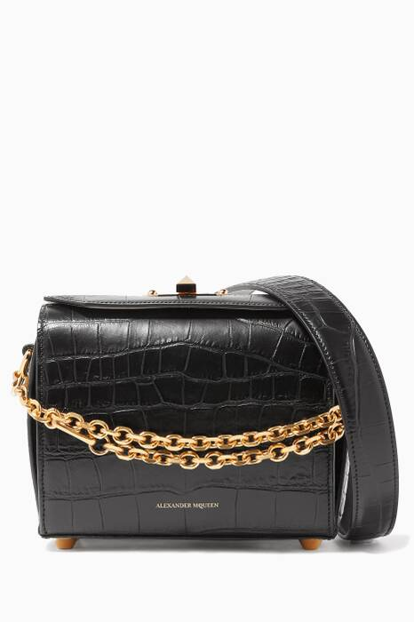 Black Croc-Embossed Box Bag 19