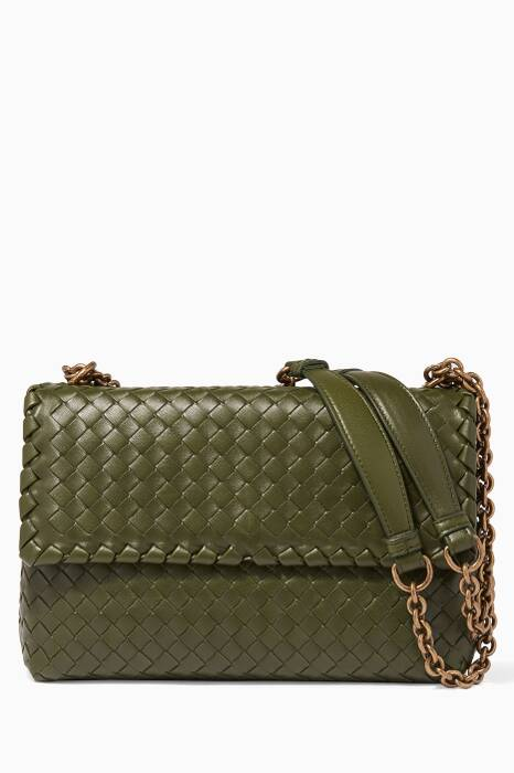 Moss Olympia Intrecciato Leather Shoulder Bag