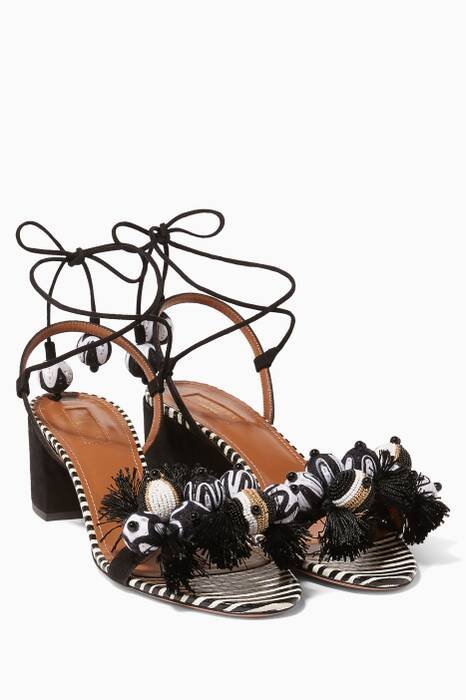 Black Tropicana Embellished Sandals