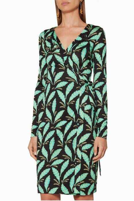 Green Mason Leaf Julian Wrap Dress