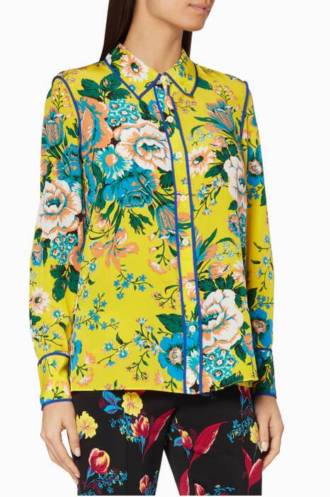 Acid Yellow Bournier-Print Collared Shirt