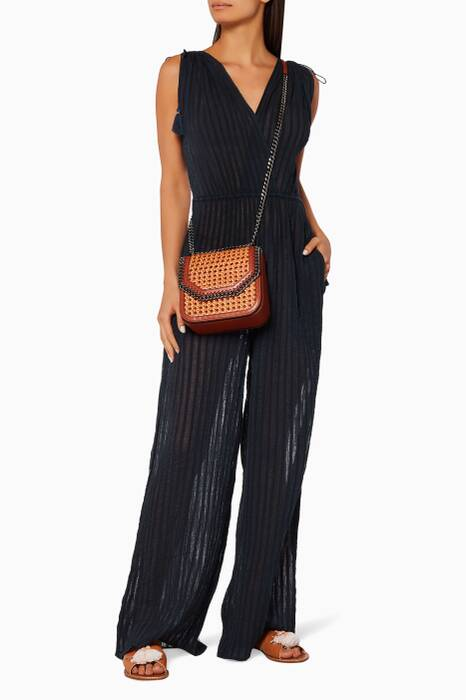 Navy Striped Gauze Tallis Jumpsuit