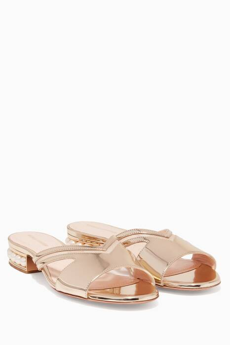 Metallic-Gold Casati Patent Leather Mule Sandals