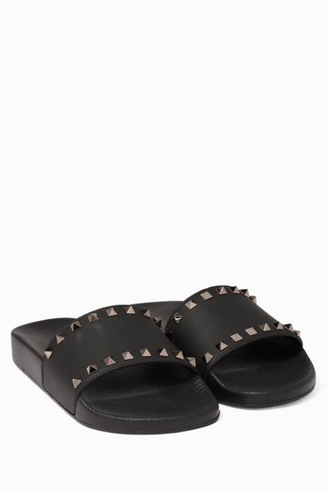 Black Rockstud Slides