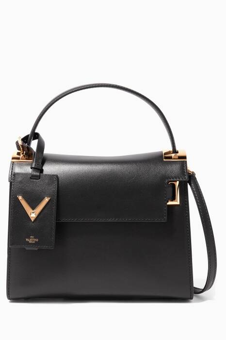 Noir Small My Rockstud Leather Tote Bag