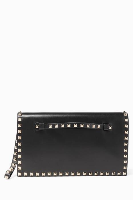 Black Rockstud Leather Fold-Over Clutch