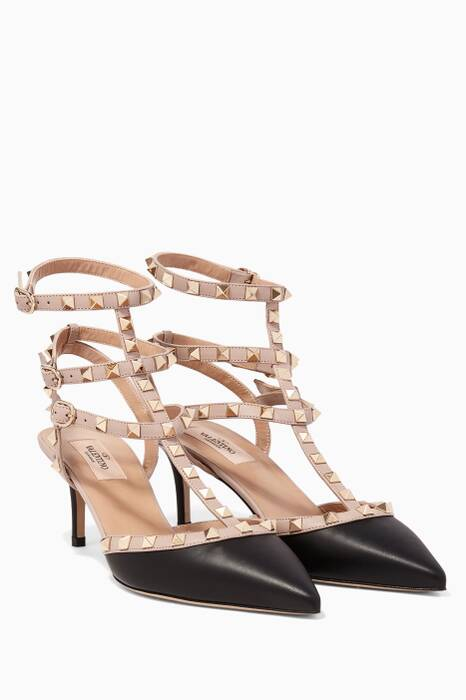 Black Double-Strap Rockstud Pumps