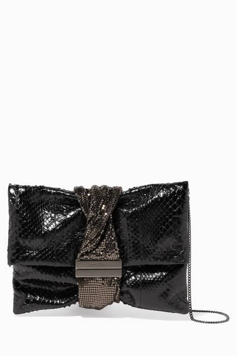 Black Python Chandra/M Clutch