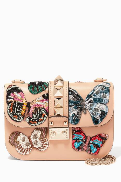 Nude Butterfly-Embroidered Shoulder Bag