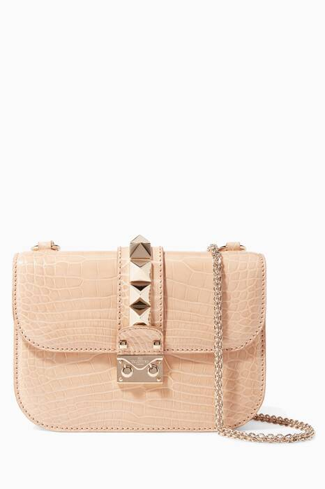 Nude Mini Glam Lock Stud Crocodile Shoulder Bag