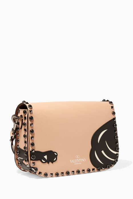Panther Embellished Garavani Guitar Rockstud Shoulder Bag