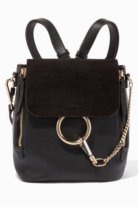 Black Small Faye Suede Backpack