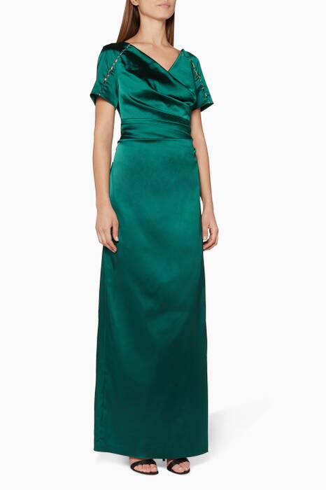 Green Bejewelled Satin Gown
