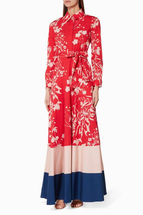 Red Carolina-Print Maxi Dress