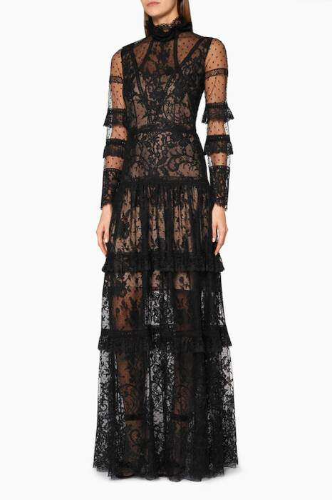 Black Ethereal French Lace Gown
