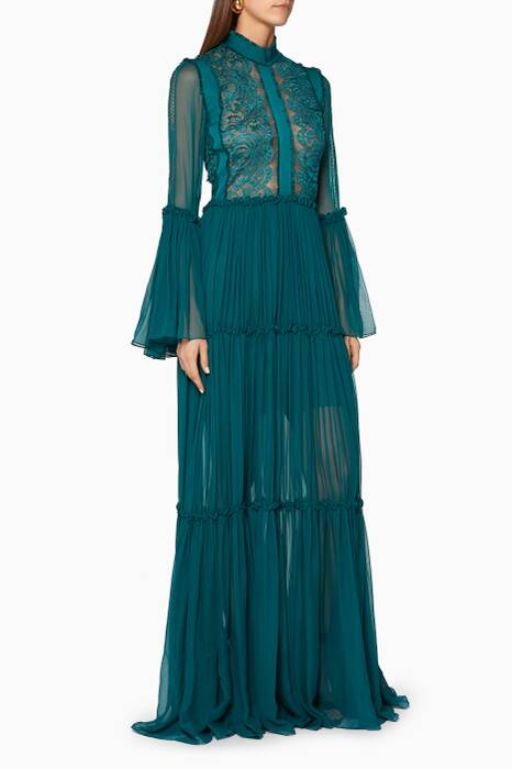 Turquoise Lace & Chiffon Gown