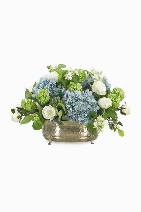 Rose Blue and White Hydrangea Bouquet with Aluminium Pewter