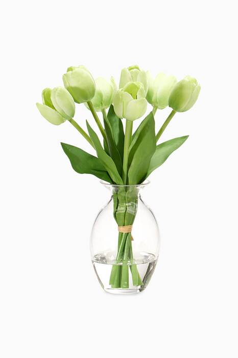 Tulip Green Bouquet with Glass Jar