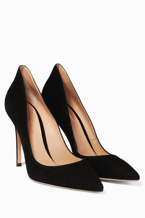 Black Ellipsis Suede Pumps
