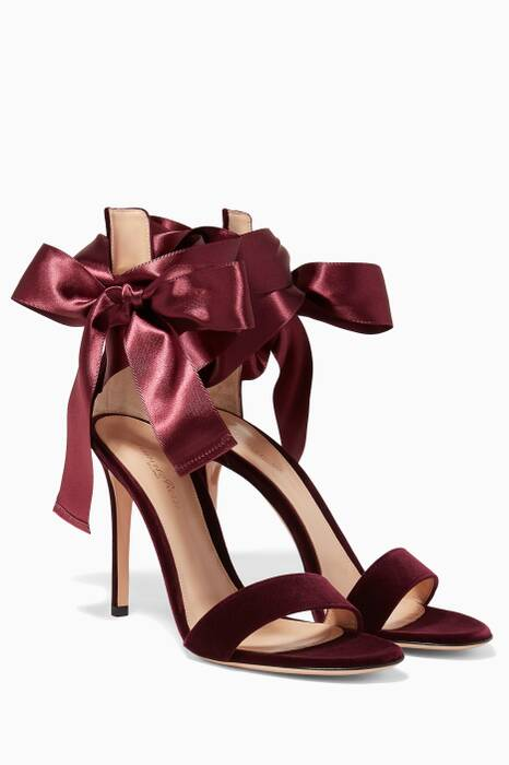 Purple Velvet Gala Satin Sandals