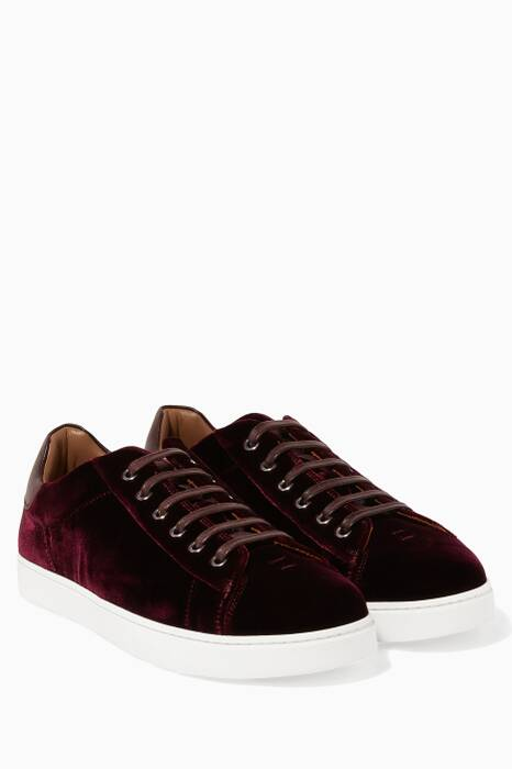 Dark-Red Velvet Lace Up Low Top Sneakers