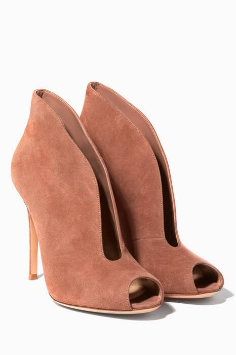 Light-Beige Peep-Toe Suede Bootie