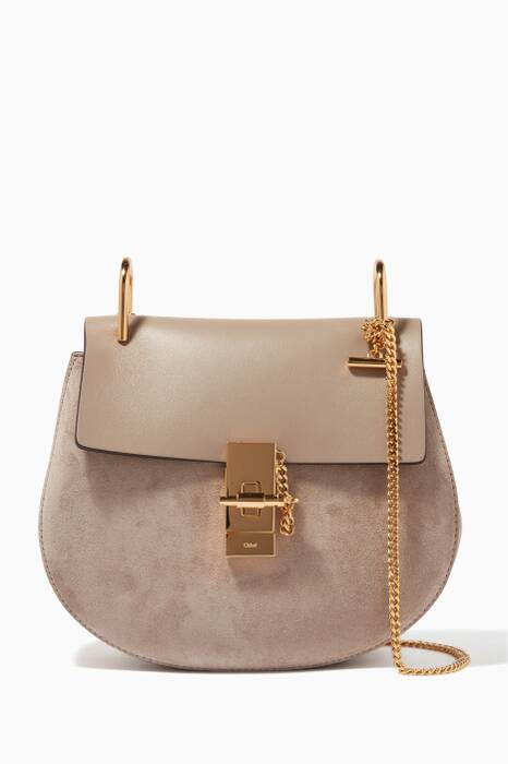 Motty Grey Small Drew Suede Shoulder Bag