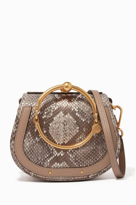 Motty-Grey Small Nile Python Leather Bracelet Bag