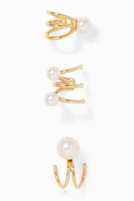 Gold Set of Three Pearl Earrings