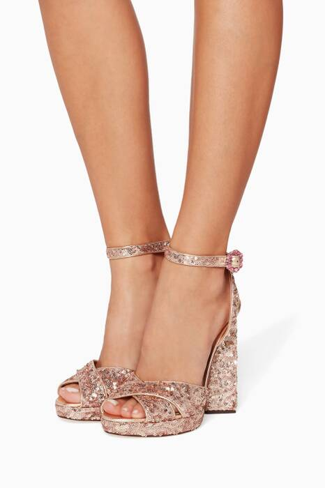 Pink Kira Pyramid Sequin Sandals
