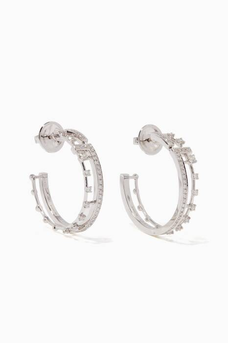 White-Gold & Diamond Avenues Hoop Earrings