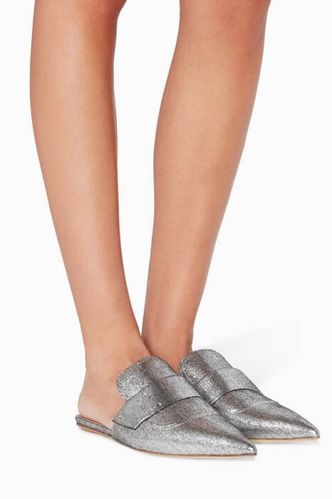 Metallic-Silver Sabot Backless Loafers