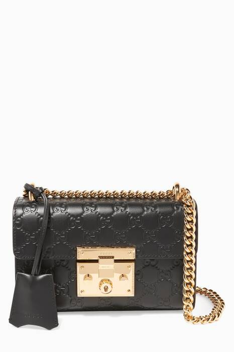 Black Padlock GG Embossed-Leather Bag