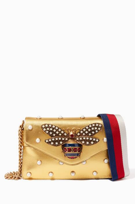 Gold Broadway Leather Chain Clutch