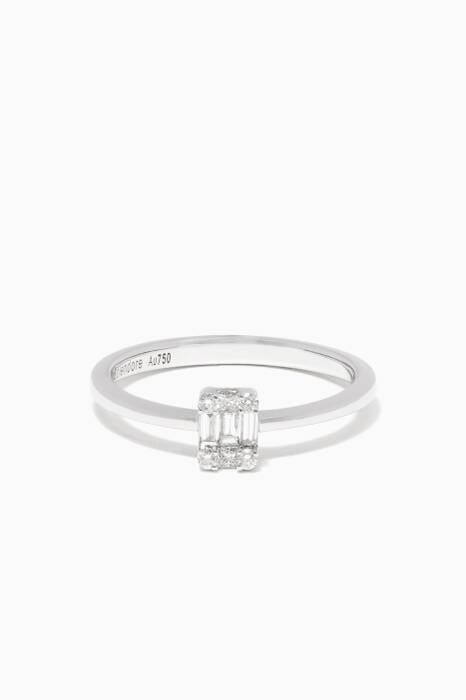 White-Gold & Diamond Rectangle Ring