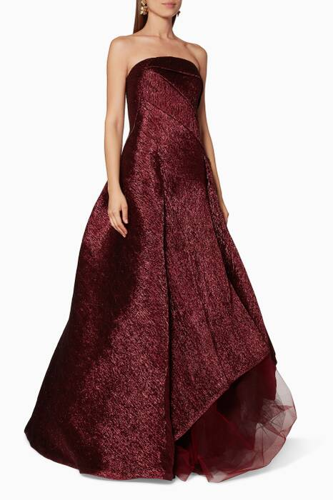 Plum Strapless Metallic Gown