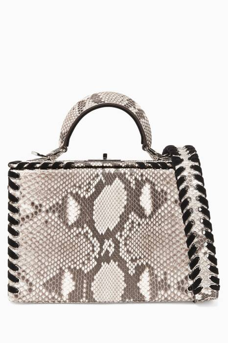 Grey Python & Velvet Mini Picnic Box Bag