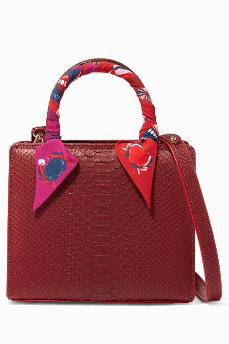 Burgundy Python Mini Sweet Box Bag