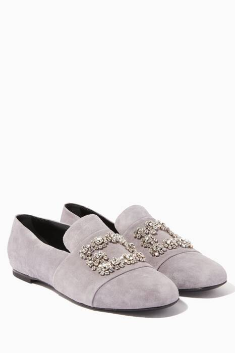 Light-Grey Flower Strass Embroidered Loafers