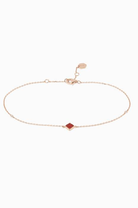 Rose-Gold, Red Agate, & Diamond Cleo Anklet