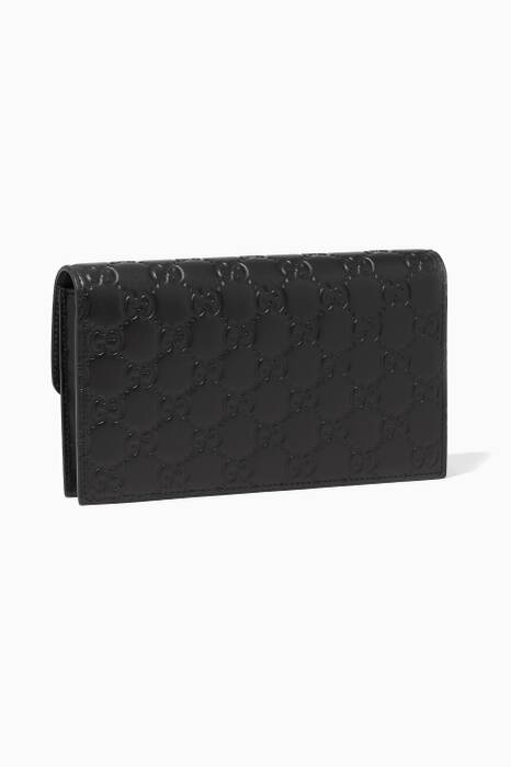 Black Icon Signature Leather Wallet