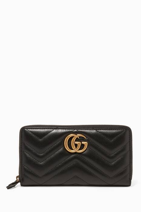 Black GG Marmont Zip-Around Wallet