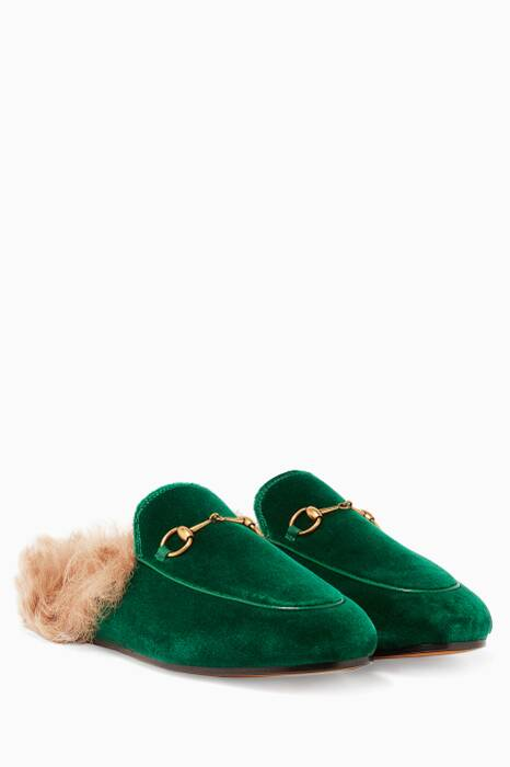 Green Velvet & Fur Princetown Loafers