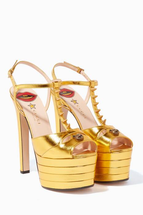 Gold Angel Platform Pumps