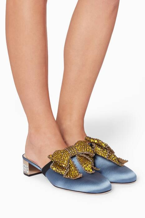 Blue Satin Loafers With Removable Crystal Bow