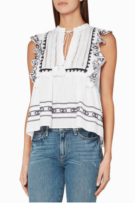 White Ruffled Crochet-Trimmed Top