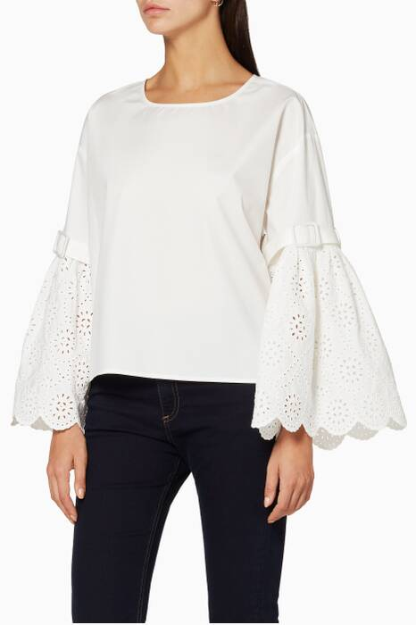 Cream Belted Bell Sleeve Top