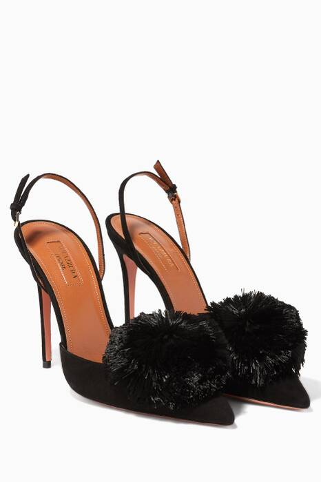 Black Powder-Puff Suede Sling-Back Pumps