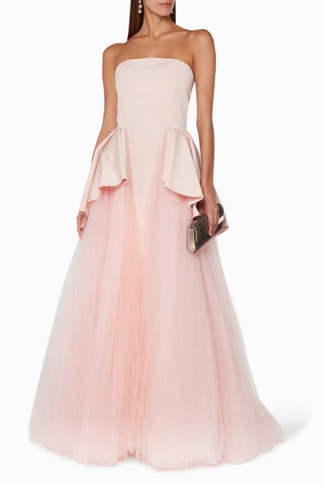 Light-pink Strapless Peplum Gown