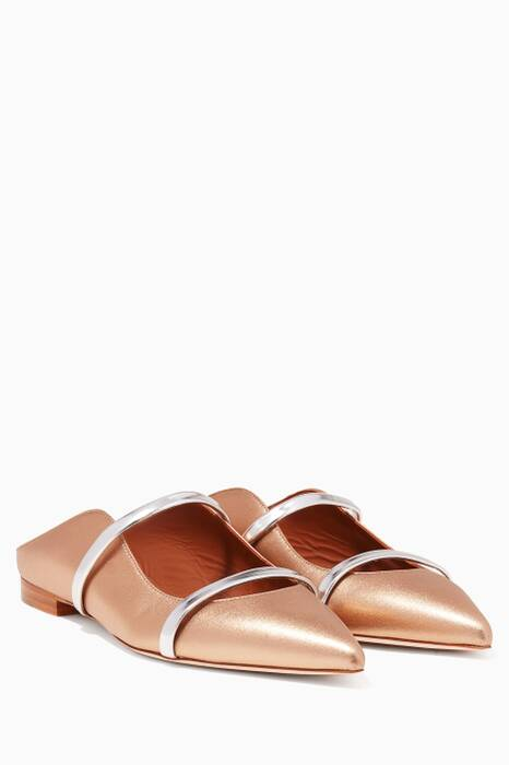 Golden-Bronze Maureen Backless Leather Flats
